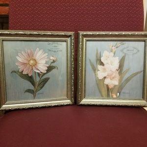 Set of Two Framed Flower Artwork